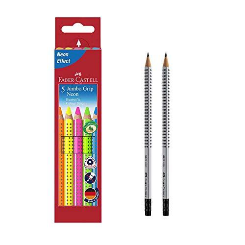 Faber-Castell 110994 - Buntstifte Jumbo Grip Neon, 5er Etui (1, inkl. 2 Bleistiften)