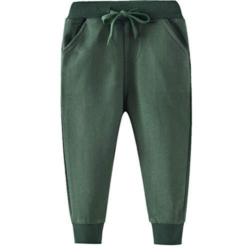 GLEAMING GRAIN Toddler Boys Jogger Pants 4T Boys Joggers Drawstring Elastic Waist Cotton Casual 4T Sweatpants Solid Green 4T