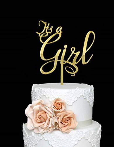 Spiegel Goud Rose Goud Baby Meisje/Het is een meisje Cake Topper Acryl Script Roze Spiegel Baby Douche, spiegel goud