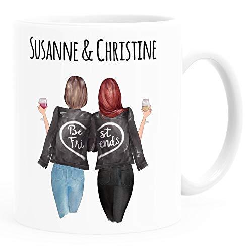 SpecialMe® Tasse beste Freundin personalisierbar, anpassbares Geschenk Freundschaft Best Friends 2 Seiten weiß Keramik-Tasse
