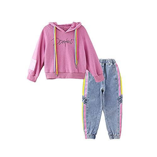 Poywuo Trainingsanzug Jogginganzug Kinder Mädchen 2tlg Sportswear-Jogginganzüge Mädchen Sportanzug Bekleidungsset Zweiteiler Freizeitanzug Outfit-Set(Sweatshirt+Jeanshose), Pink Lila, 130(EU 122-128)