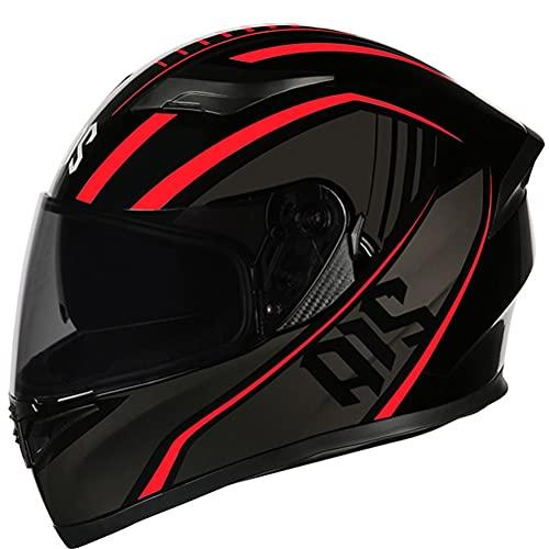 CHICTI Cascos De Motocicleta para Hombres Y Mujeres Moto Integral ECE ECE Homologado A Prueba De Viento con Doble Visera para Adultos Abatible (Color : E, Size : L)