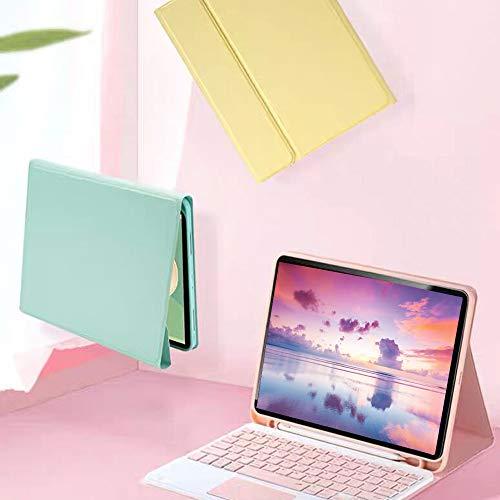 iPadPro11Bluetoothキーボードケース2020/2018に兼用iPadPro11インチカバー脱着式タッチパッド搭載スタンド機能ペンシル収納アップルペンシル充電対応軽量薄型色鮮やかお洒落手帳型(iPadPro112020/2018,ミントグリーン)