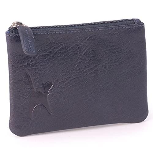 Catwalk Collection Handbags - Cuir Véritable - Petit Portefeuille/Porte Monnaie - RFID - Boîte Cadeau - Femme - MIMI - Bleu