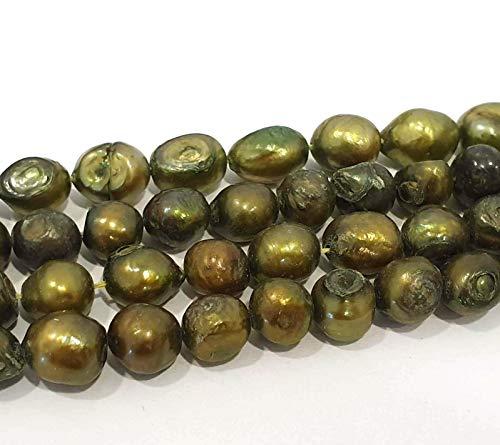 15 perlas de agua dulce cultivadas, 10 mm, verde, en forma de grano de arroz, natural, barroco, piedras preciosas, joyas, para enhebrar, hacer cadenas, manualidades y bisutería, perlas D543