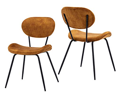 Guyou Retro Mottled Velvet Dining Chair Set of 2, Mid-Century Bentwood Desk Chair Accent Chair with Balck Metal Legs for Kitchen/Dining Room/Desk, Yellow