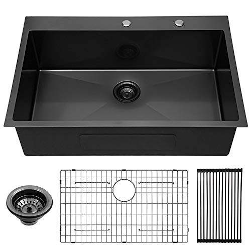 Lordear 33 inch Kitchen Sink Drop-in 16 Gauge Gunmetal Black R10 Tight...