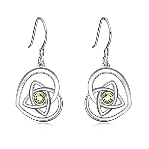 AOBOCO Sterling Silver Irish Earrings, French Hook Heart Dangle Drop Celtic Earrings, Simulated Peridot Crystals from Swarovski, Anniversary Birthday Irish Celtic Jewelry Gifts for Women(Olive Green)