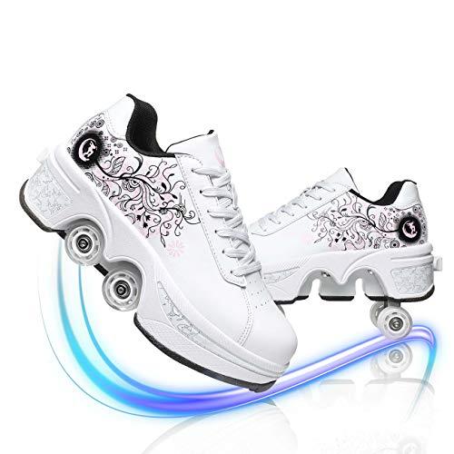 2 in 1 Deformation Roller Schuhe Rollschuhe Inline-Skate Roller Turnschuhe Rädern Laufschuhe Sneakers Verstellbare Quad-Rollschuh-Stiefel,White pink,EU 40(US 9)