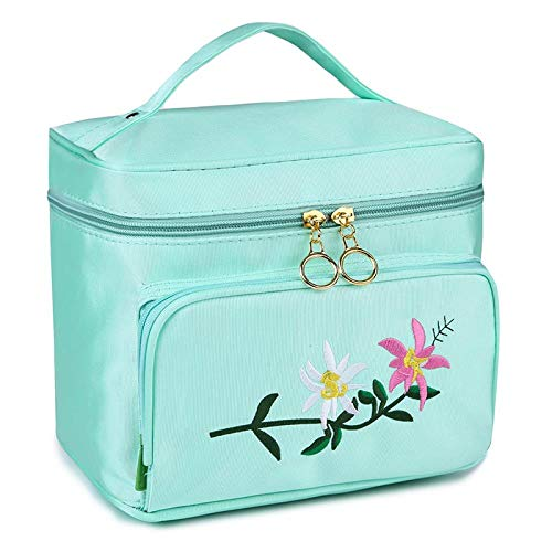 Portable Cosmetic Bag_Large Capacity Creative Cosmetic Bag Avec Fermeture Éclair Rose Broderie, Aqua Blue