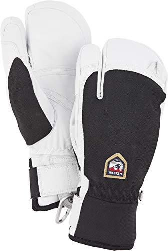 Hestra Herren Army Leather Patrol 3 Finger HandschuheSchwarz/Weiß/Grau 7