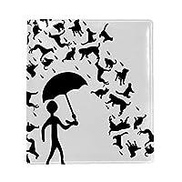 ブックカバー a5 猫雨 雲 白い 文庫 PUレザー ファイル オフィス用品 読書 文庫判 資料 日記 収納入れ 高級感 耐久性 雑貨 プレゼント 機能性 耐久性 軽量16x22cm