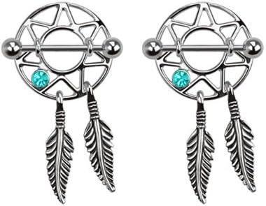 Pair of Nipple Rings Aqua Lt Blue Dream Catcher Shields Dreamcatcher Body Jewelry Piercing bar Barbell Shield Ring- 14 Gauge 14g