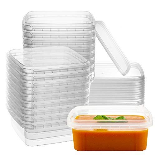 8-oz. Square Clear Deli Containers with Lids | Stackable, Tamper-Proof BPA-Free Food Storage Containers | Recyclable Space Saver Airtight Container for Kitchen Storage, Meal Prep, Take Out | 20 Pack