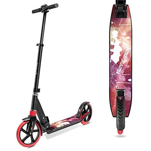 besrey Scooter Kickscooter Tretroller für Erwachsene Teenager ab 8 Jahren Faltbar Höhenverstellbar Cityroller City Roller 200mm Big Wheel Scooter - Rot