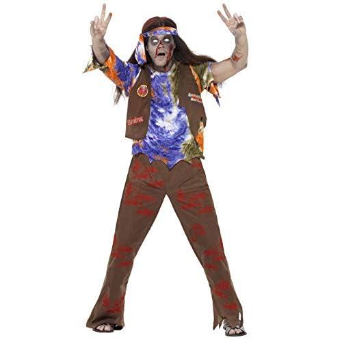 SMIFFYS Smiffy's 61106L - Zombie 60 Hippie Costume Multicolore con Pantaloni Top & Foulard, L