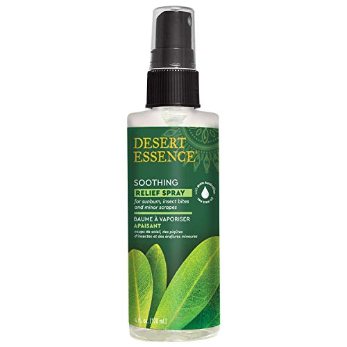 Desert Essence Relief Spray - 4 Fl Oz - Antiseptic Eco-Harvest Tea Tree Oil & Other Essential Oils - Natural First Aid - Minor Burns - Sunburn - Insect Bites - Scrapes - May Comfort Aching Feet