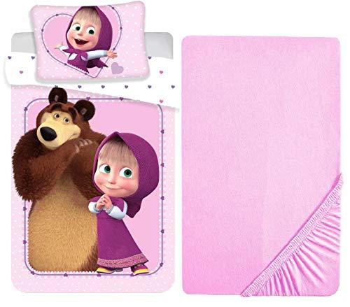 L.T.Preferita Masha y el Oso - Juego de ropa de cama para bebé, cuna de bebé, funda nórdica + funda de almohada + sábana bajera ajustable