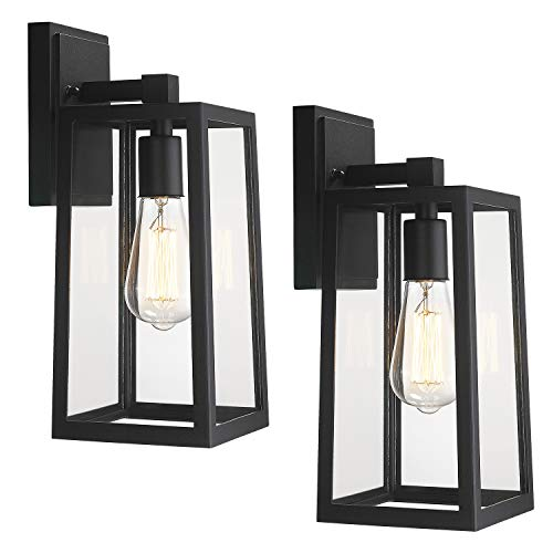 Emliviar 2 Pack Outdoor Wall Light Fixtures, Outside Wall Lights for House, Black Finish with Clear Glass, WE212B-2PK BK