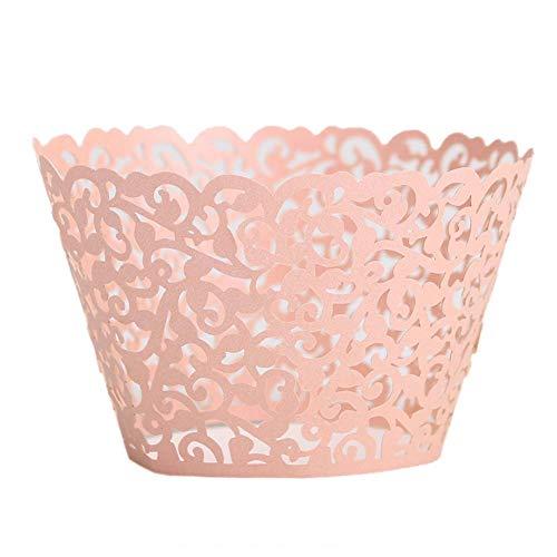 Ancdream Lot de 50 décorations pour Cupcakes/Muffins en Dentelle de Papier Découpe Laser Motif Papillons dansants, Rose