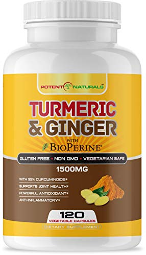 Turmeric Curcumin with Bioperine and Ginger 1500mg 120 Vegetable Capsules by POTENT NATURALS - Supports Joint Health, Anti Inflammatory, Antioxidant Supplement - High Strength, Non GMO, Gluten Free