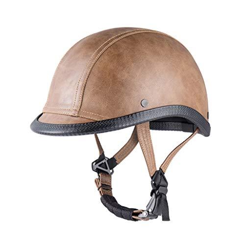 MYFSPORTS Vintage Helm Fahrrad Helm Motorrad Helm, bequemer Leichter atmungsaktiver Helm für Erwachsene Männer/Frauen mit Verstellgurt, geeignet für 20,4-22,8 Zoll (52-58 cm),Braun