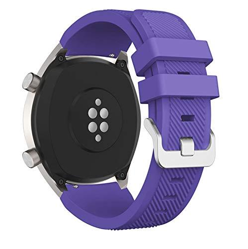 LGFCOK Correa de silicona de 22 mm para Huawei para Honor Magic Watch 2 correas de repuesto deportivas para Huami Amazfit Stratos 3 correa (color de la correa: morado, ancho de la correa: 22 mm)