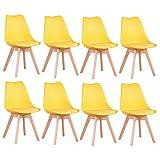 BenyLed Juego de 8 Sillas de Comedor con Asiento Tapizado y Patas de Madera de Haya Ideal para Comedor, Cocina, Salón, Dormitorio, Amarillo