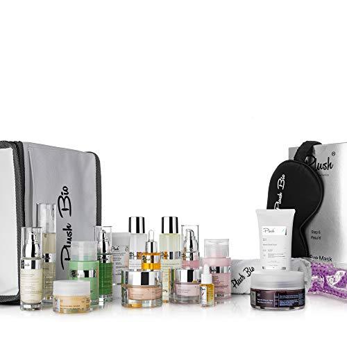 Plush luxuryBIOcosmetics - Terapia aburrida y fatigada - set de 16 productos + 3 productos de regalo bolsa térmica, toalla, mascarilla de seda - regenera, hidratación - tipos de piel: cansado y todo