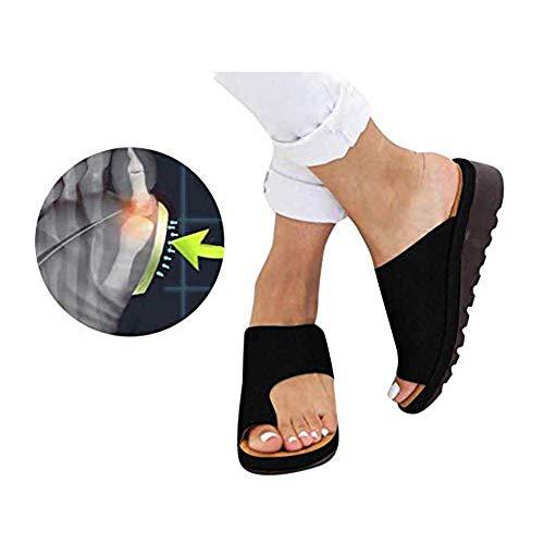 CTEJ Frauen Korrektur Big Toe Hallux Valgus Bequeme Plattform Sandale Schuhe Damen Sommer Strand Reise Schuhe,Schwarz,37