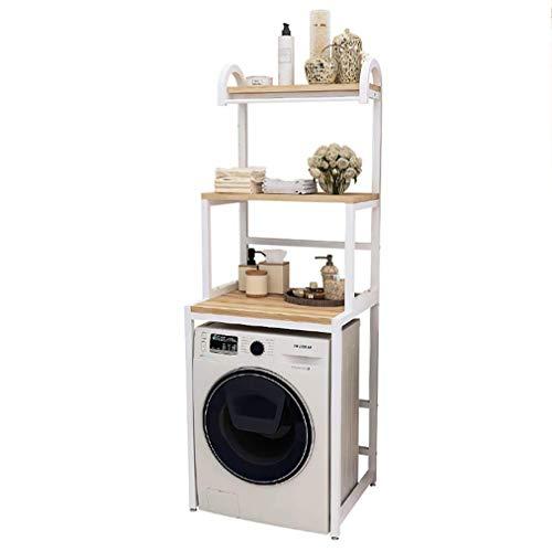 JIAJBG Estantería de 3 capas para lavadora, de acero al carbono, para baño, con soporte de pie de apoyo artificial