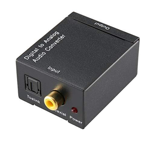 YLWL Convertitore Audio da Digitale ad analogico ad Alta Fibra Ottica Segnale Audio coassiale Nero