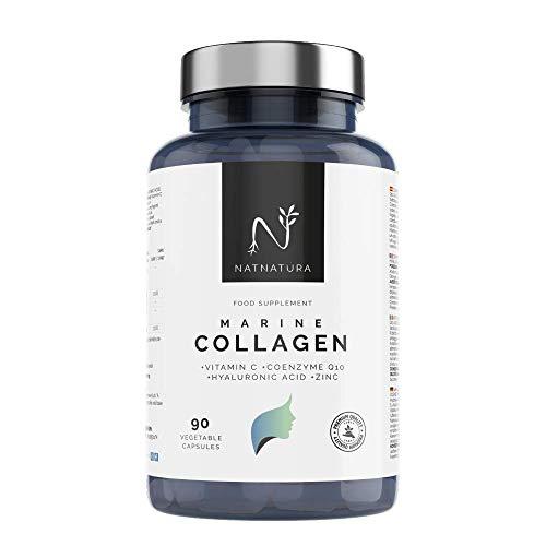 Colágeno Marino Hidrolizado. Colágeno Ácido Hialurónico + Coenzima Q10 + Vitamina C + Zinc. Energía, Piel sana, Articulaciones fuertes. 100 cápsulas vegetales máxima pureza y efectividad.