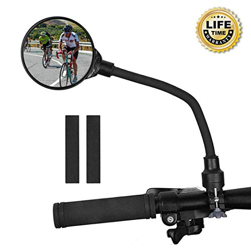 Wondery Bike Rear View Mirror, 360°Adjustable Rotatable Bending Wide Angle Rear View Mirrors for E-Bike MTB Cycling Road Bike - Cyclists Safety with Gasket, Easy Install (Black - 1 Pcs)