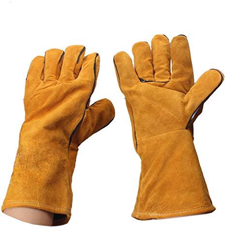 HFFFHA Schweißhandschuhe Lange Lederhandschuhe Hitzebeständig Gefüttert Schweißerhandschuh Hochtemperaturofen Lang Gefüttert Perfekt Für Die Gartenarbeit Mit Kaminöfen (Color : C)