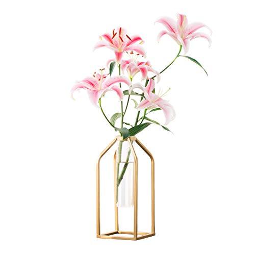 NHLBD Home decoratie/Feng Shui tafel Smeedijzeren Test Buis Bloem Vaas Moderne Creatieve Persoonlijkheid Eenvoudige Glas Bloem Woonkamer Tafel Decoratie Decoratie 12.5 * 12.5 * 27cm