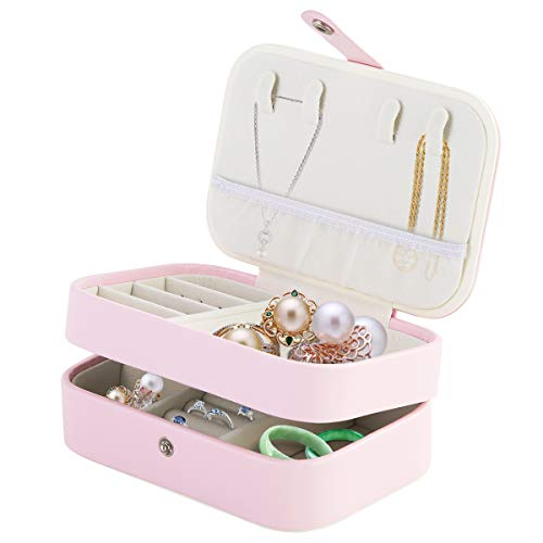 FAMKIT Caja de Joyería de Plástico Caja de Joyería Portátil de Doble Capa Caja Organizadora de Almacenamiento de Joyas de Viaje para Collar de Anillo de Pendiente