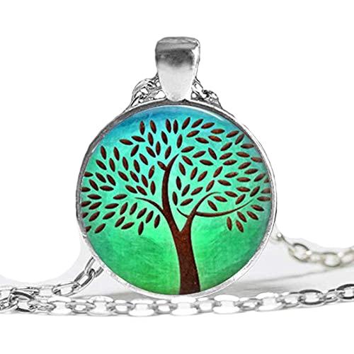 Collar colgante de árbol de la vida,Collar vintage hecho a mano,Collar largo personalizado personalizado,Joyería de moda mis pedidos