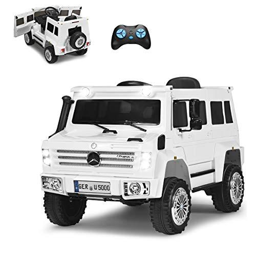 COSTWAY 12V Eletro Kinderauto mit Radiofunktion   Musik   LED Lichter   Soundeffekt   USB   3 Geschwindigkeiten   Vorwärts- und Rückwärtsgang   2,4G Fernbedienung   2 Türen zum Öffnen