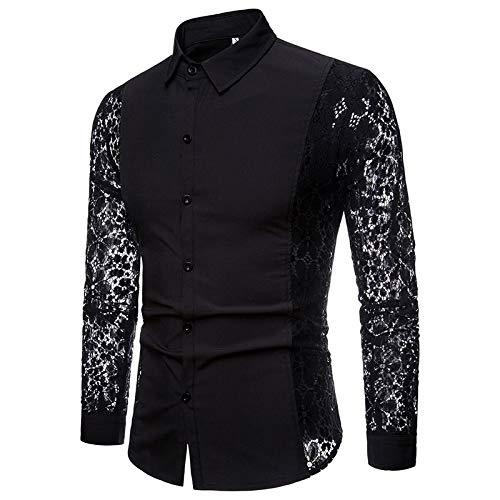 Blusa de Manga Larga de Color slido para Hombre, Costura de Encaje Hueca Lateral Personalizada, Camisa de Moda, Liviana, Transpirable y cmoda XXL