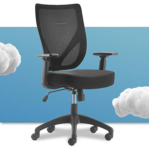 Serta Production Office Chair with Nylon Base Adjustable Ergonomic Midback Lumbar Support, Breathable Mesh Back, Black