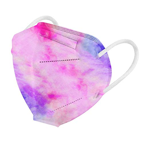Koippimel 10/25/50pcs, Tie-Dye Disposable Face_Masks for Women Men, 5-Layers Non-Woven High Breathable_Mask with Nose Bridge Strip for Adults Safety_Protection, 0123-129