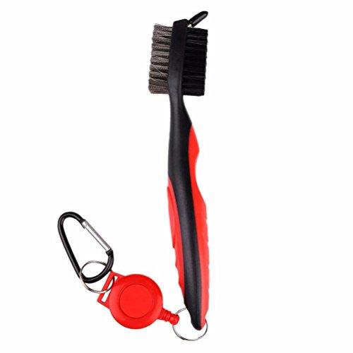 LIOOBO El Cepillo para Palos de Golf y el Limpiador para Ranuras de Palos se acoplan fácilmente a la Bolsa de Golf (Rojo)