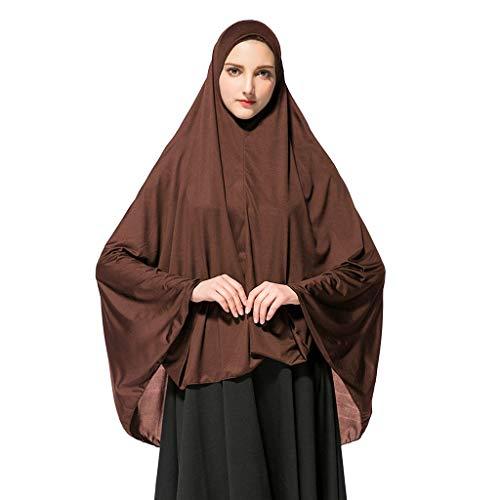 HEETEY Schal, Frauengebet Khimar Bereit, lange Hijab mit Under Scarf zu tragen Langer einfarbiger Hijab-Dienst Mode Schals Wraps für Bali Garn Schal Schal (XL, Kaffee)