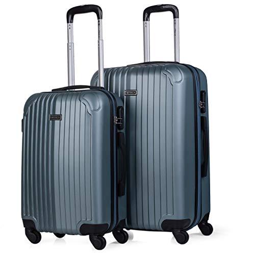 ITACA - Juego Maletas de Viaje 4 Ruedas Trolley. ABS. Duras Rígidas Resistentes y Ligeras Diseño. 2 Tamaños: Pequeña Cabina y Mediana Extensible. T71515, Color Aguamarina