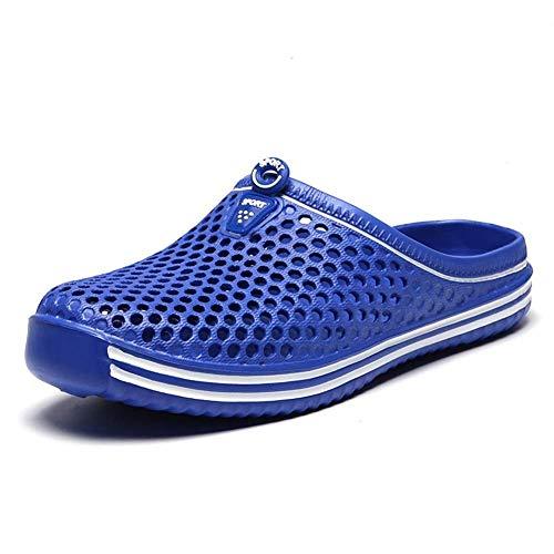 JFFFFWI Zuecos Zapatillas de Mulas para Hombres Punta Cerrada Resbalón en Zapatos de Agua de Ducha de Playa al Aire Libre Antideslizantes Transpirables (Color: Azul Claro, Talla: 42 EU)