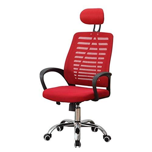 DJ Draaistoel, moderne minimalistische bureaustoel van mesh, voor thuiscomputerstoel, persoonlijke vergaderstoel, sponszitting, in hoogte verstelbaar, draaibare directiestoel, studentenstoel rood
