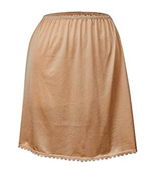 Valair Classic Short and Long Half Slip Skirt for Ladies and Girls - Slight Flair - Anti Static - Ranges 14  Till 34  Lengths Nude