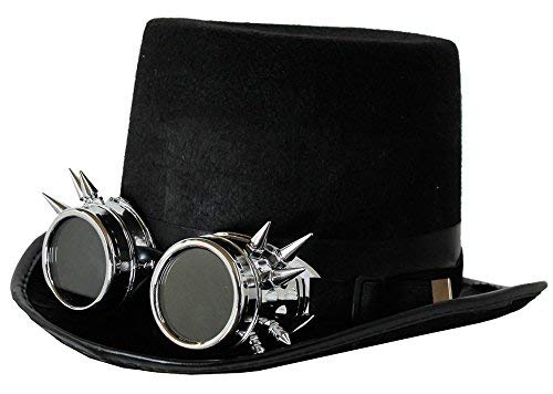 ILOVEFANCYDRESS STEAMPUNK VICTORIAN FELT TOP HAT WITH SPIKED SILVER GOGGLES steampunk buy now online