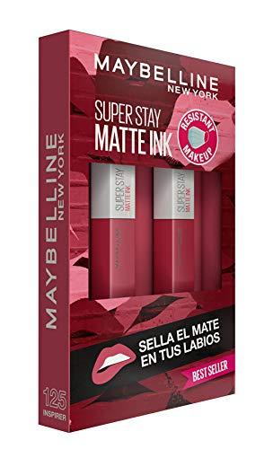 Maybelline New York, SuperStay Matte Ink, Cofre 2 Pintalabios Permanentes Líquidos de Larga Duración, Efecto Mate, Maquillajes Labiales, Tono 125 Inspirer - 2 Unidades, 10 ml